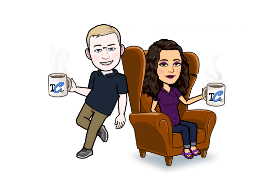 boy bitmoji drinking coffee leaning against chair with girl bitmoji sitting in it drinking coffee