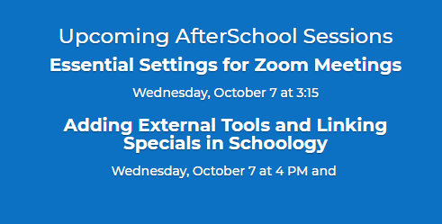 schedule for upcoming after school sessions