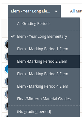select marking period 2 from the first column drop down menu
