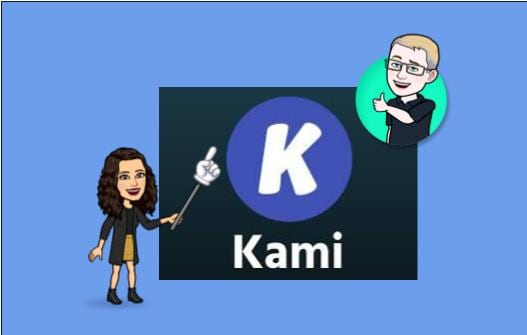 bob and amy's bitmoji with the kami logo