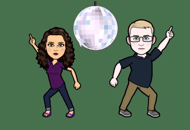 amy and bob bitmoji disco dancing